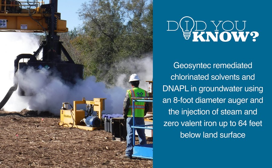 Remediation using Large Diameter Auger with Steam and Zero Valent Iron