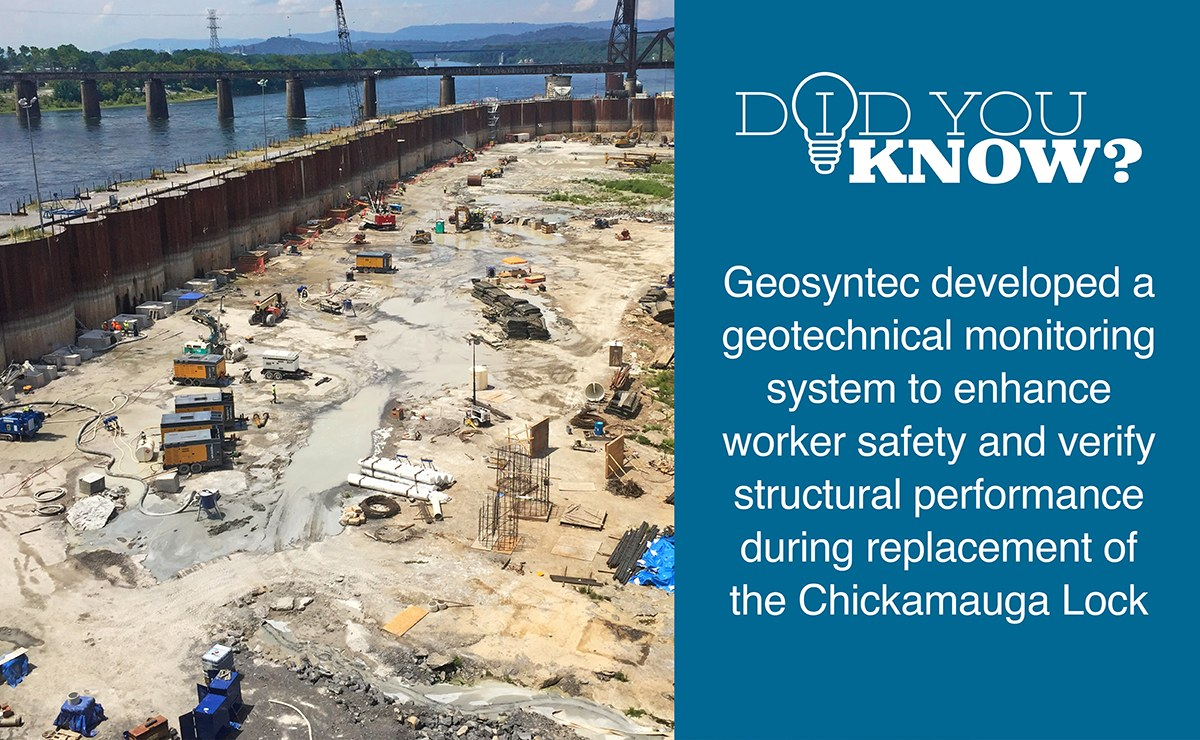 Geosyntec provided a real-time geotechnical monitoring system for the replacement of the Chickamauga Lock on the Tennessee River.